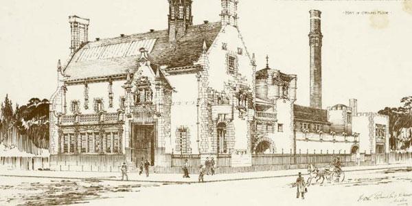 Illustration of the Public baths & gymnasium at Primrose st, Alloa, Scotland